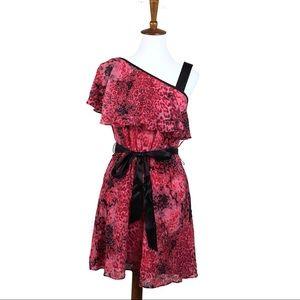 ASOS Animal Print One Shoulder Ruffle Sleeve Dress